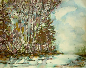 """ORIGINAL watercolor and ink painting, not a print, """"The Point Beyond"""" FREE SHIPPING"""