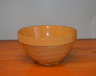Vintage Stoneware Rock Island Lumber Co advertising mixing bowl advertising bowl