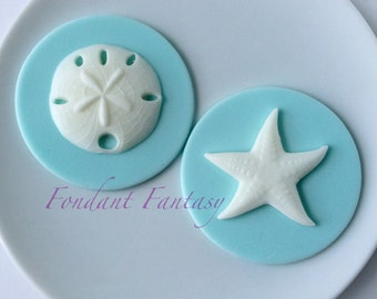 Starfish and Sand Dollar Cupcake Toppers