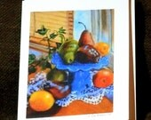 Fine Art 4.25 X 5.5 Inch Note Card of my Original Painting :Sunny Pears""