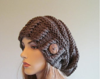 SALE Slouchy Beanie Slouch Hats Oversized Baggy Beret Button womens fall winter accessory Taupe Super Chunky Hand Made Knit