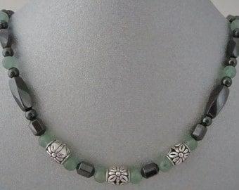 Magnetic Hematite Necklace with Semi-Precious Aventurine