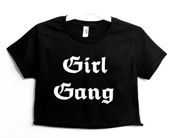 Girl Gang Graphic Print Women's Crop Shirt XS S M L XL XXL 3XL