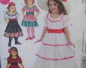 Girl's Costume Pattern Belle Gypsy Spanish McCalls Pattern M6418 Sizes 3 - 8 Uncut Pattern