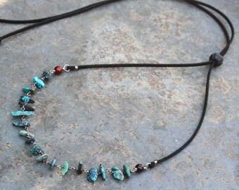 Adjustable Necklace, Vegan Necklace, Stone Necklace, Cruelty Free Necklace, Boho Necklace, Vegan Jewelry, Turquoise Necklace, Blue Grey