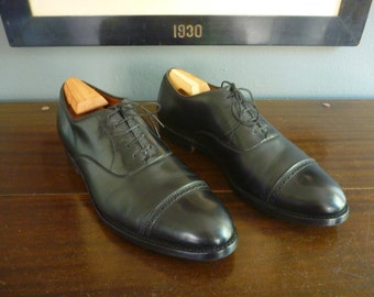CLASSIC Vintage Alden for Culwell & Sons Perforated Straight Tip Black Calfskin Balmorals Oxfords 10 A / C. Made in USA.
