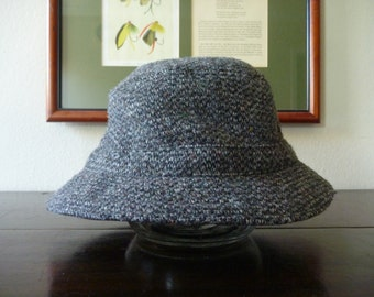 DEADSTOCK Vintage LL Bean 100% Wool Harris Tweed Gray Soft Bucket Hat Size Large, US 7 1/4 to 7 3/8, Metric 58 to 59 cm.  Made in China.