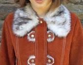1960s suede and faux fur coat boho brown orange fur collar vintage