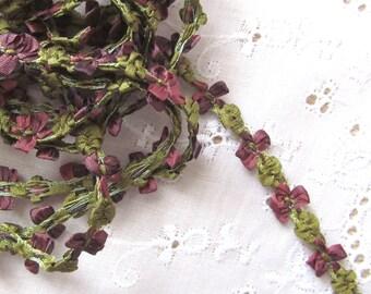 Deep Purple and Green Silk Ribbon Decoratative Trim