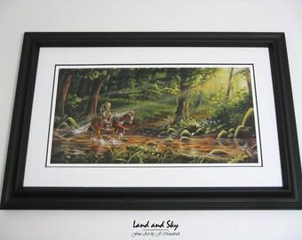 8x16 Video Game Art, Legend of Zelda, Link and Epona PRINT on Fine Art Paper by J. Mandrick