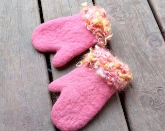 Kids wool mittens Alpaca gloves Girls mittens pink Kids gloves Felted mittens Children gloves Girls pink gloves Wool gloves Kids accessories
