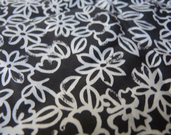 vintage silk fabric flowers black with white flowers 45 inches wide BTY
