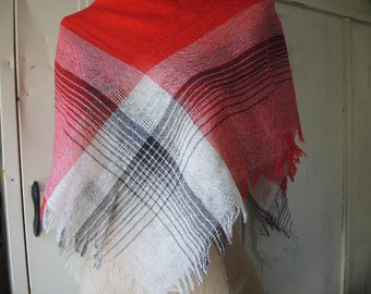 Vintage Echo scarf acrylic and cotton plaid made in France  36 x 36 inches