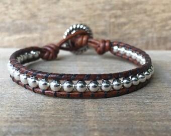 Wrap Bracelet, Leather Wrap Bracelet, Sterling Silver Bracelet, Womens Bracelet, Boho Wrap, Single Wrap Bracelet, Affordable Gift for Her