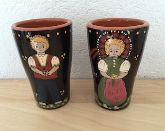 French Alsace Pottery Faience Beakers Hot Chocolate Cocoa