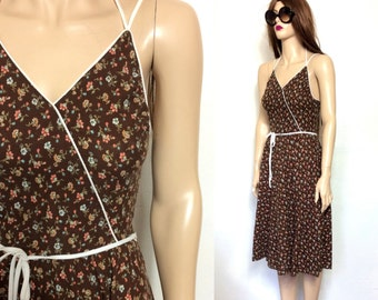 Vintage Hippie Dress Extra Small Boho Dress XS 70's Dress 80's Dress Prairie Dress Brown Dress Summer Dress Sleeveless Floral