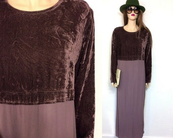 Vintage 90's Dress J Jill Dress Minimalist Dress 80's Dress louchy Dress Sack Baggy Dress Plum Velvet Dress Hippie Boho Large XL Maxi USA