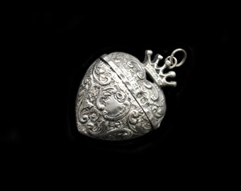 Lovely Small Antique French Crowned Silver Heart Locket Box Chatelaine Pendant