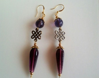 Celtic Brass and Purple Dangle/Drop Earrings