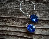Blue Rhinestone Earrings Swarovski Oval Vintage Rhinestones with Silver Wires