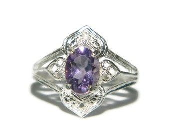 Natural Stone Ring, Purple Stone Ring, Low Profile Ring, Middle Finger Ring