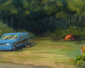 Campsite in the woods 02- Print of my original illustration