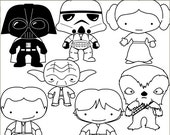 Star Heroes Clip Art Set -Personal and Limited Commercial- Trooper, Wars blackline clipart NO WEAPONS