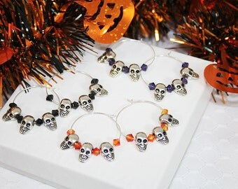 Halloween Skull Hoop Earrings with Swarovski Crystals Scary Halloween Earrings Perfect for Trick or Treat Halloween Parties