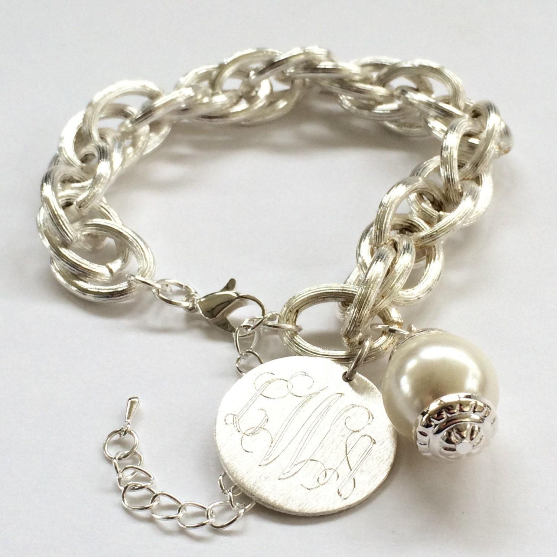 monogram charm bracelet engraved pendant and pearl bracelet in