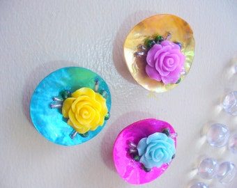 Rose Flower Magnets, Office Magnets, Refrigerator Magnets, Locker Magnets, Flower Magnets, Yellow, Pink, Blue, Mother of Pearl Shell