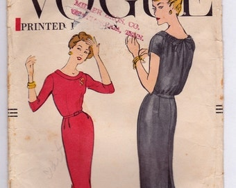RARE 50s Slim Skirt Dress with Released Box-Pleats - Vogue 9319 - Drawstring at neck-line in back, Size 14 Bust 34 Most UnCut