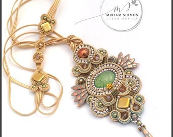 Whimsical Soutache pendant in cream, gold, bronze and matte pink