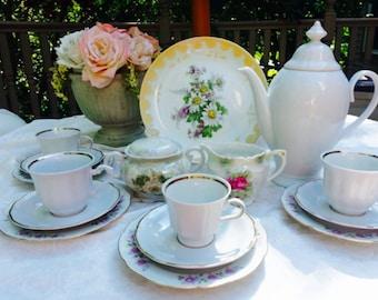 Tea Set for 4, 16 Pieces,  Alice in Wonderland Tea  Set Instant Tea Party  Barvaria China Tea Set
