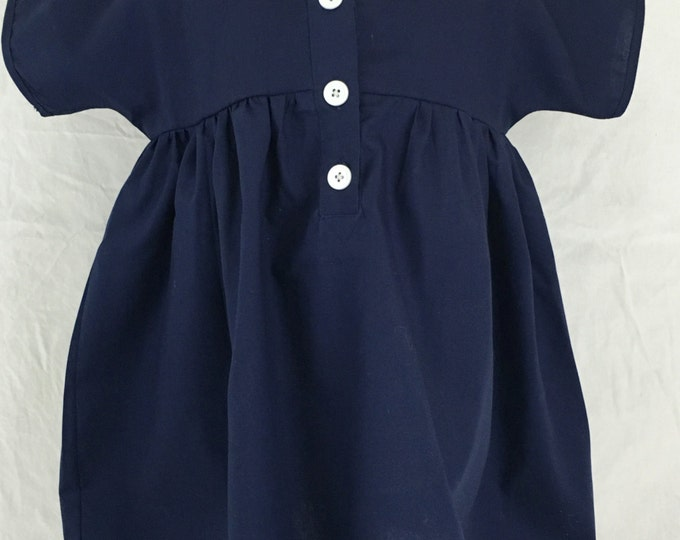Navy Blue Baby Girl's Smock Dress, Organic Cotton, Size M/L, Children & Toddler Clothing, Simple Girl's Dress