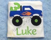 Applique Monster Truck, Applique Boys Birthday Shirt, Applique Number T-Shirt or Bodysuit, Personalized Shirt, Boys Tops