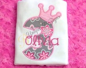 Princess Crown Birthday Shirt, Girls Applique Shirt, Appliqued Birthday Number & Crown T-Shirt or Bodysuit, Personalized Shirt