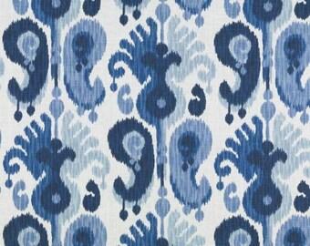 Navy Blue Ikat Upholstery Fabric -Custom Large Scale Navy Ikat Curtains - Custom Blue Ikat Roman Shade - Navy Ikat Pillows with Cording
