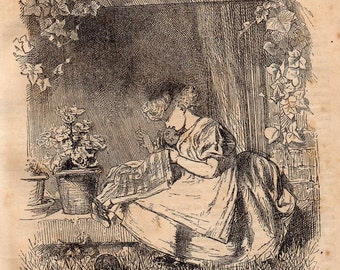 Antique print Little Busy Bee sewing 1870