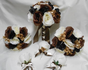 Wedding Silk Flower Bridal Bouquets 18 pcs Package Champagne Ivory Brown Cream Black Toss Bridesmaids  Boutonnieres Corsages FREE SHIPPING