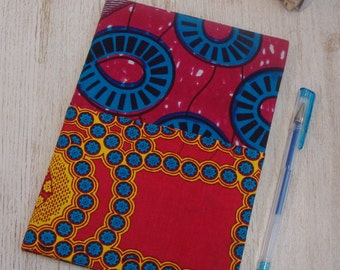 Hardback A5 sketchbook Unique cartridge paper covered with African print 20 plain unlined sheets 40 pages 140gsm - patchwork design