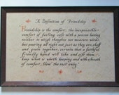 A Definition Of Friendship Beautiful Calligraphy Art Saying Framed Under Glass Wall Hanging Decor