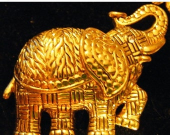 25% Off Storewide Sale Vintage Gold Elephant With Trunk in Air Trumpeting Brooch or Pin