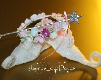 Faerie Raid by JaynesLoveDoves Miniature fairy shoes, circlet and wand
