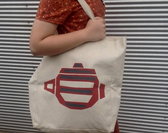 Handprinted Hemp Tote Bag with red/charcoal grey teapot design