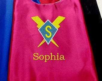 Kids Super Hero Cape,  Embroidered Personalized Girl,s Cape Diamond, Lightning bolts with Monogram Hot Pink
