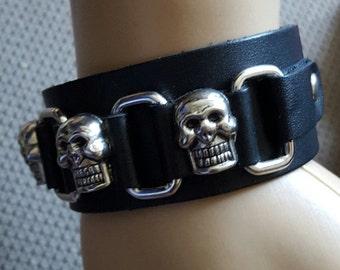 Black Leather Skull Head Bracelet