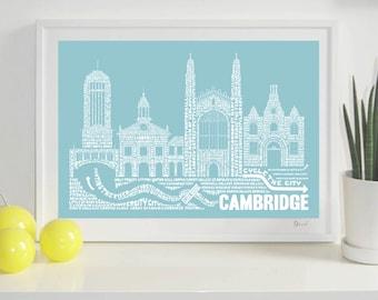 Cambridge Skyline Typography Print