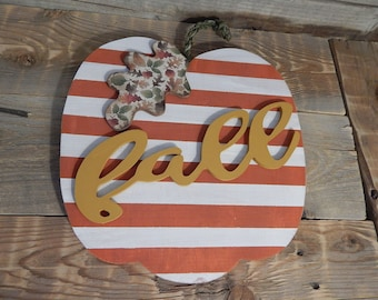 Fall wood pumpkin ... Halloween decor ... Fall decor