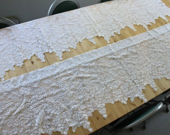 """72"""" by 20"""" WHITE LACE valance curtains, Floral lace scalloped curtains, vintage valances, White Wisteria"""