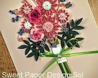 Paper Quillied beautiful Flower Bouquet - Wedding card,Mothers day,Happy Birthday,Congratulations , Happy Anniversary Card